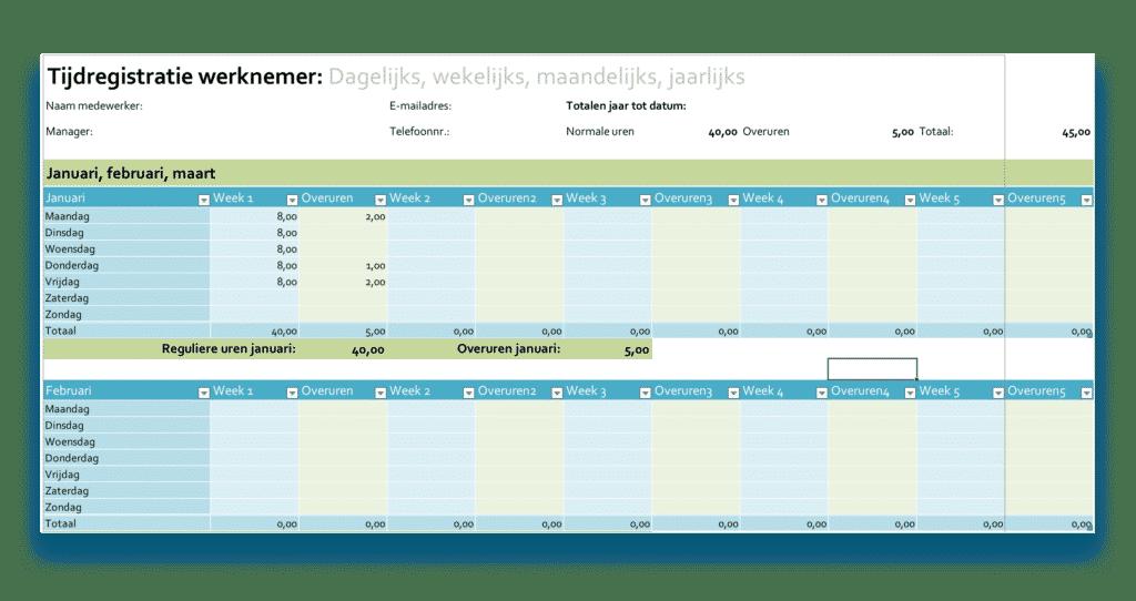 Gratis Excel sheet bijhouden