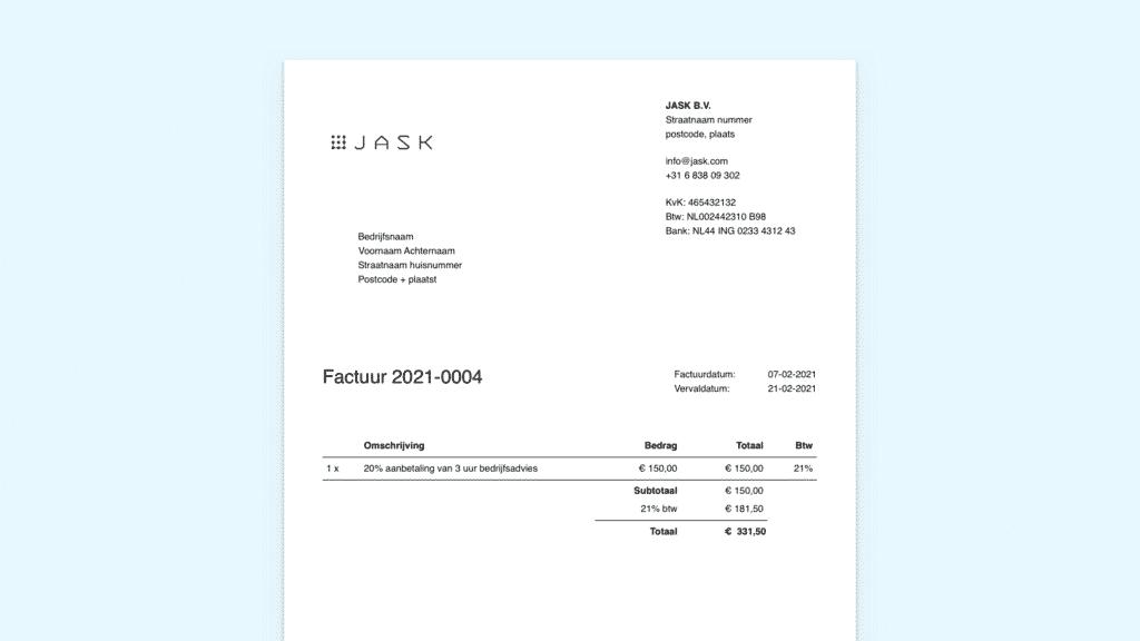 Voorbeeld aanbetalingsfactuur